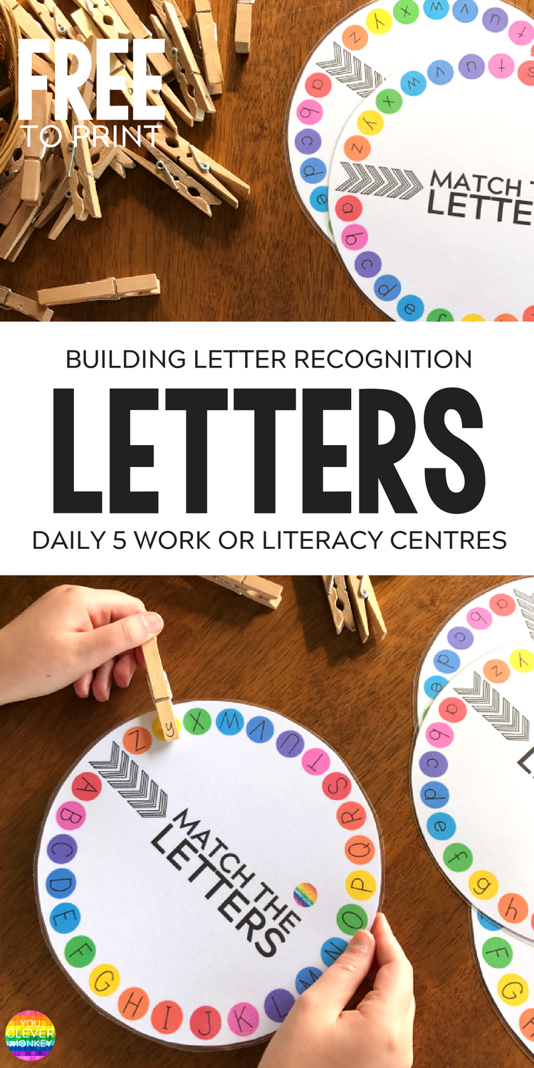 Printable Letter Wheels - just print and add clothes pegs! FREE to download - perfect for building up fine motor skills while learning upper and lowercase letters | you clever monkey