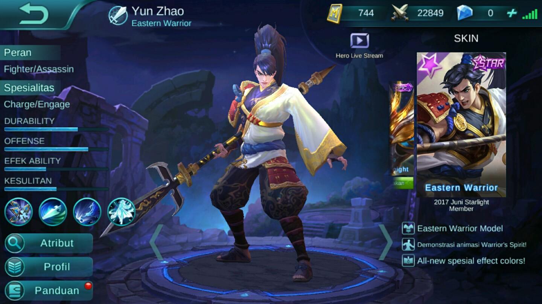 Selanjutnya adalah Hero dari legenda China yakni Yun Zhao Hero ini adalah Hero yang dapat kita gunakan secara gratis di awal permainan