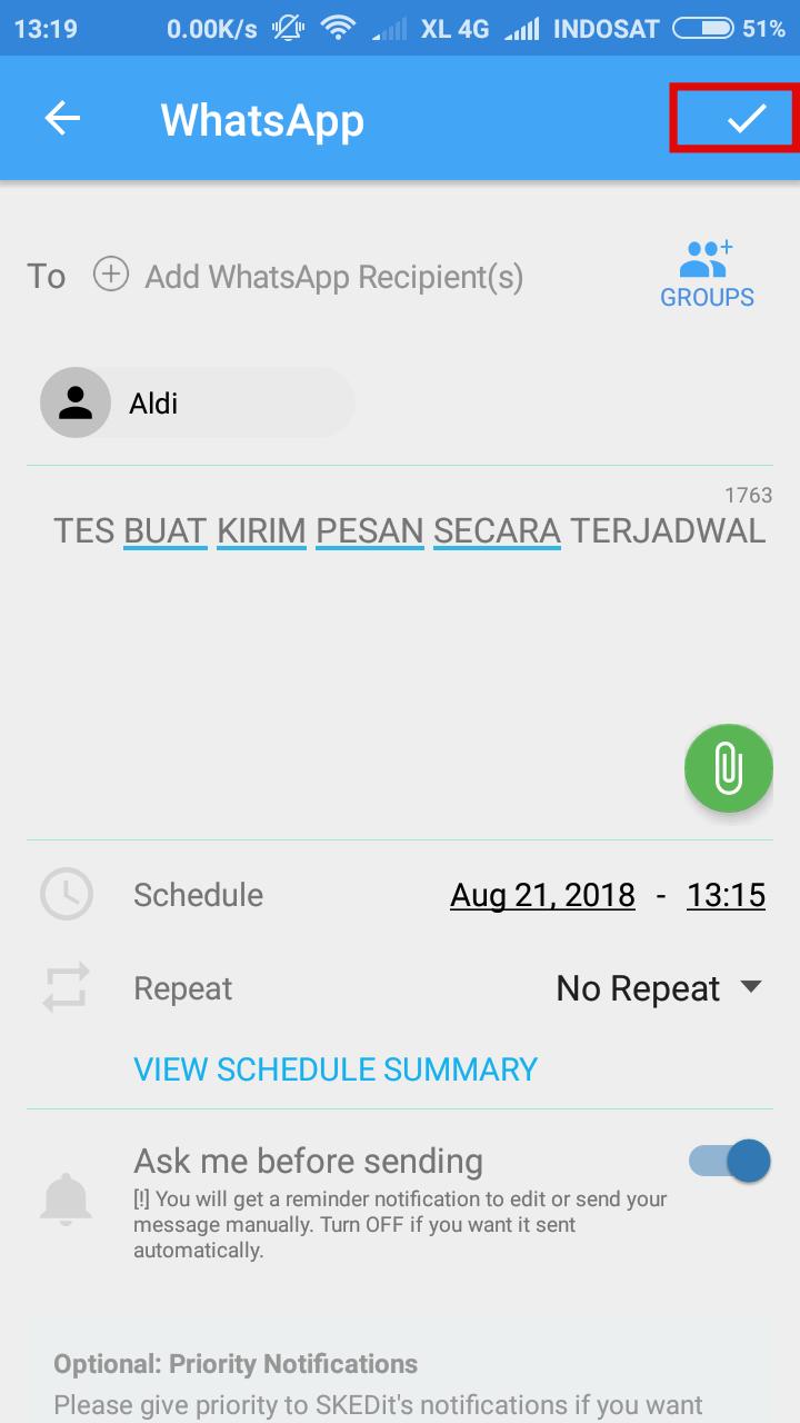 2 Cara Buat Jadwal Kirim Pesan WhatsApp di Android