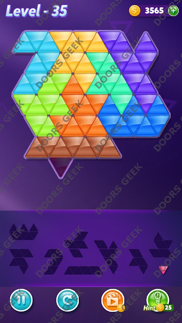 Block! Triangle Puzzle 9 Mania Level 35 Solution, Cheats, Walkthrough for Android, iPhone, iPad and iPod