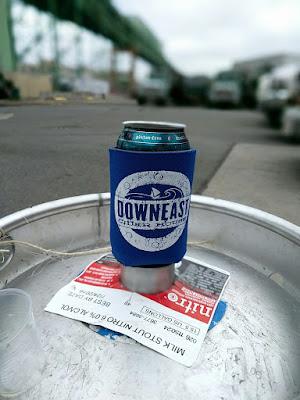 Downeast Cider koozie on a keg in Boston