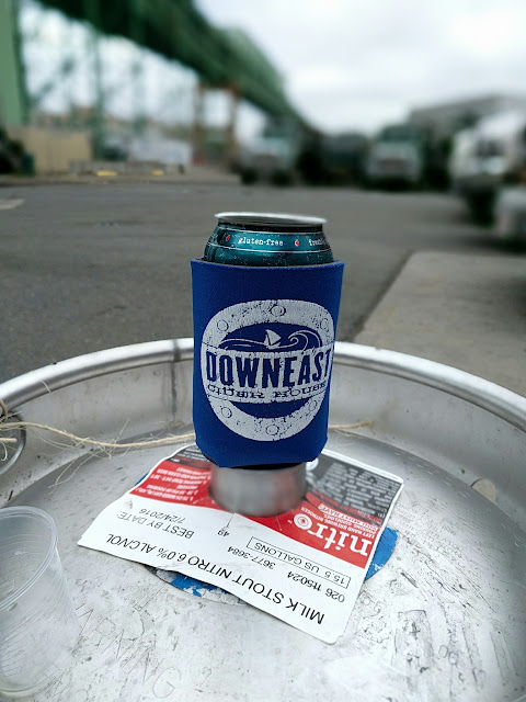 Downeast Cider koozie on a keg in Boston