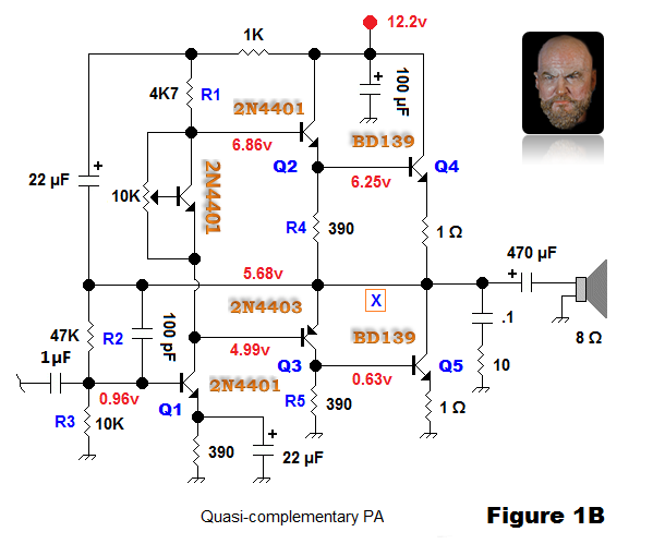 Figure 1B. My final quasi-complementary amplifier.