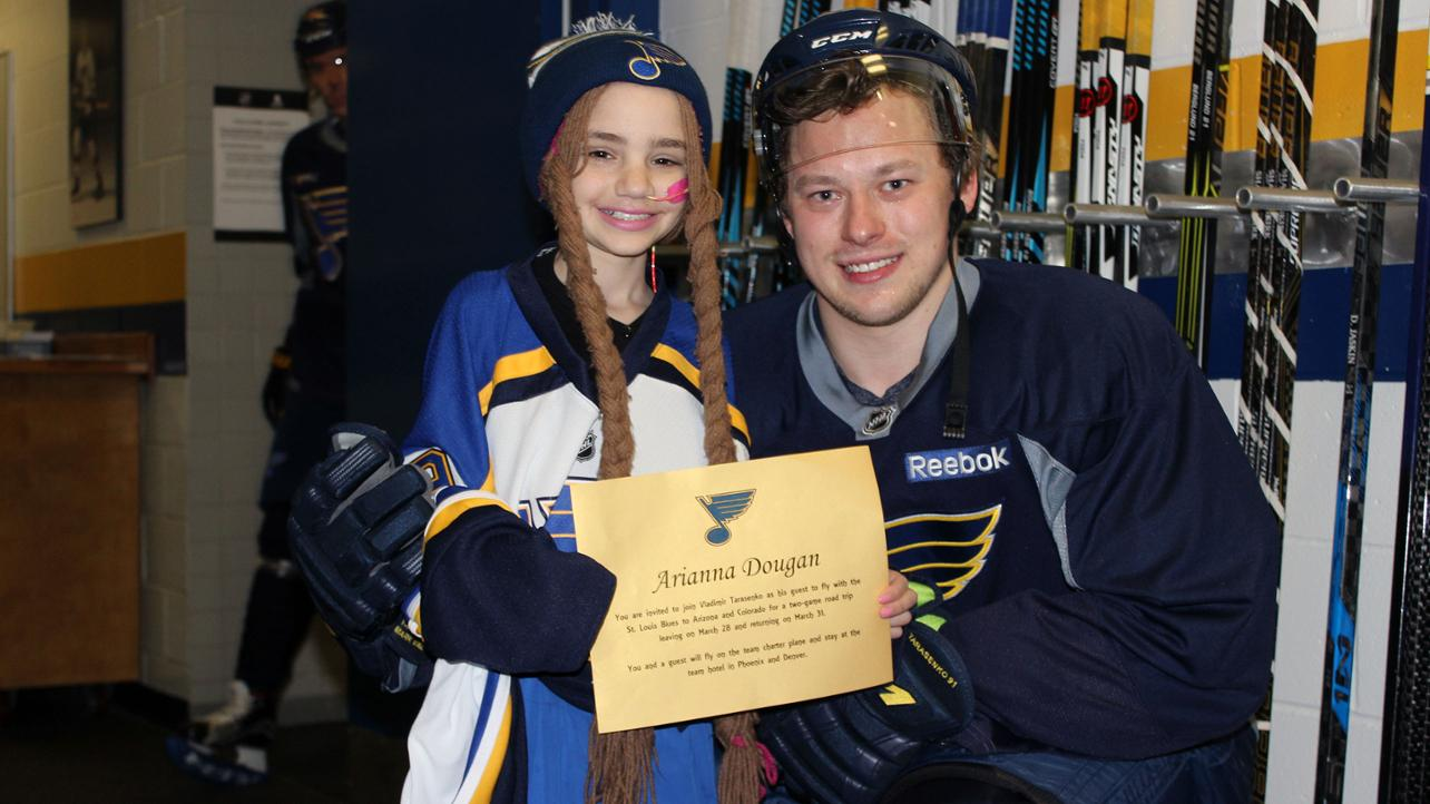 Local big time st louis blues player pulls off babe ruth size promise back in february her wish was to meet her favorite hockey player vladimir tarasenko who plays for the st louis blues m4hsunfo