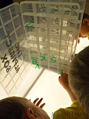 Matching and sorting transparent letters on the light table from And Next Comes L