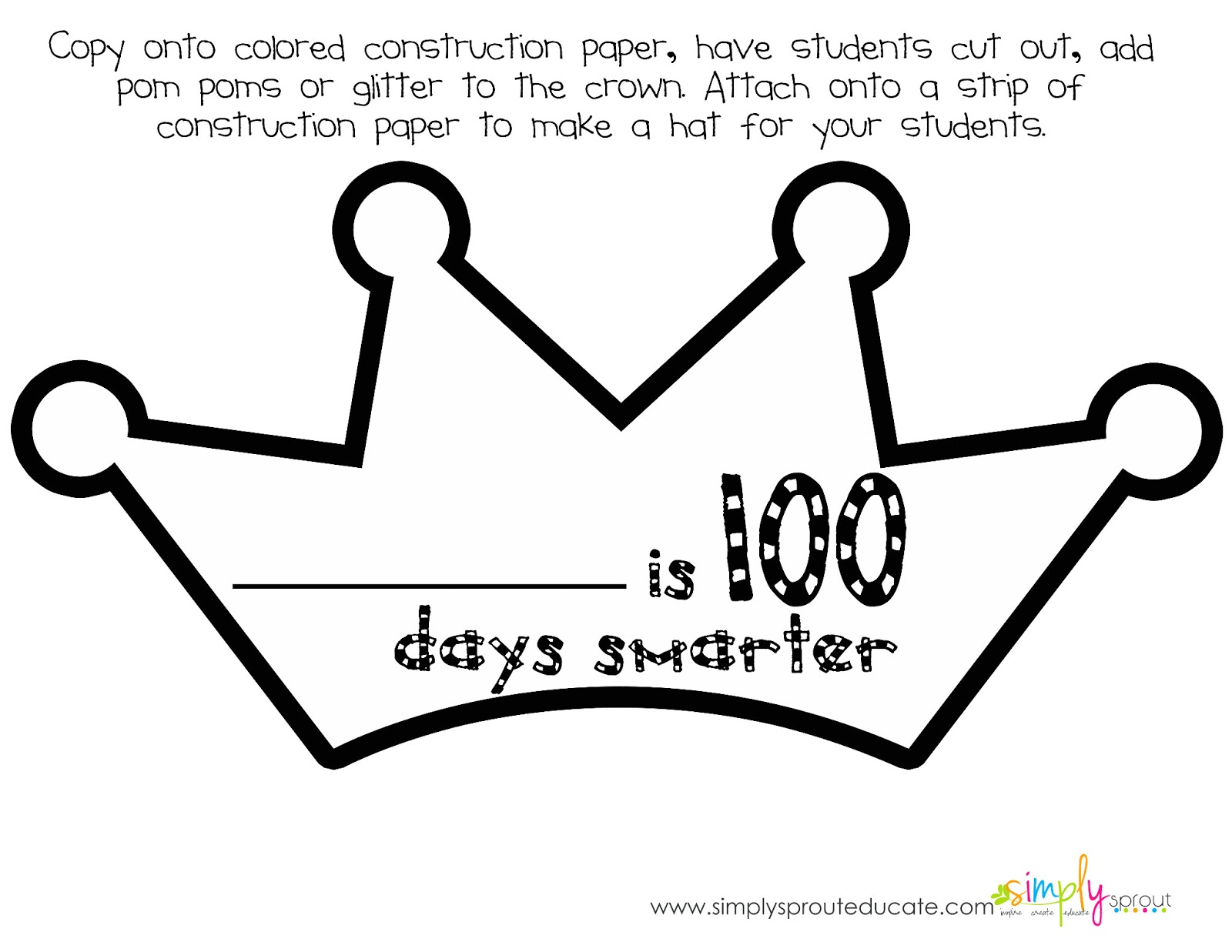 Let 39 s celebrate 100 days in school with a mini kit for 100th day of school crown template
