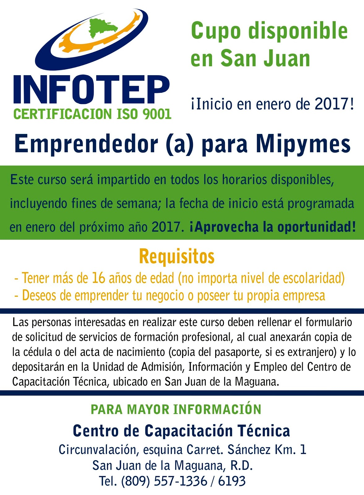 CURSO DE INFOTEP : EMPRENDEDOR PARA MIPYMES – Ven Infórmate