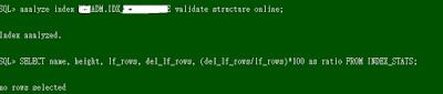alter index validate structure