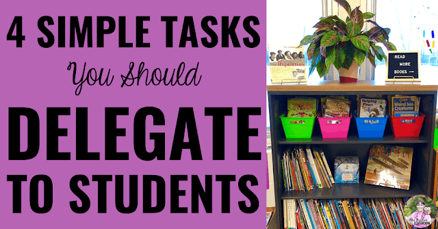 "Photo of bookshelf with text, ""4 Simple Tasks You Should Delegate to Students."""