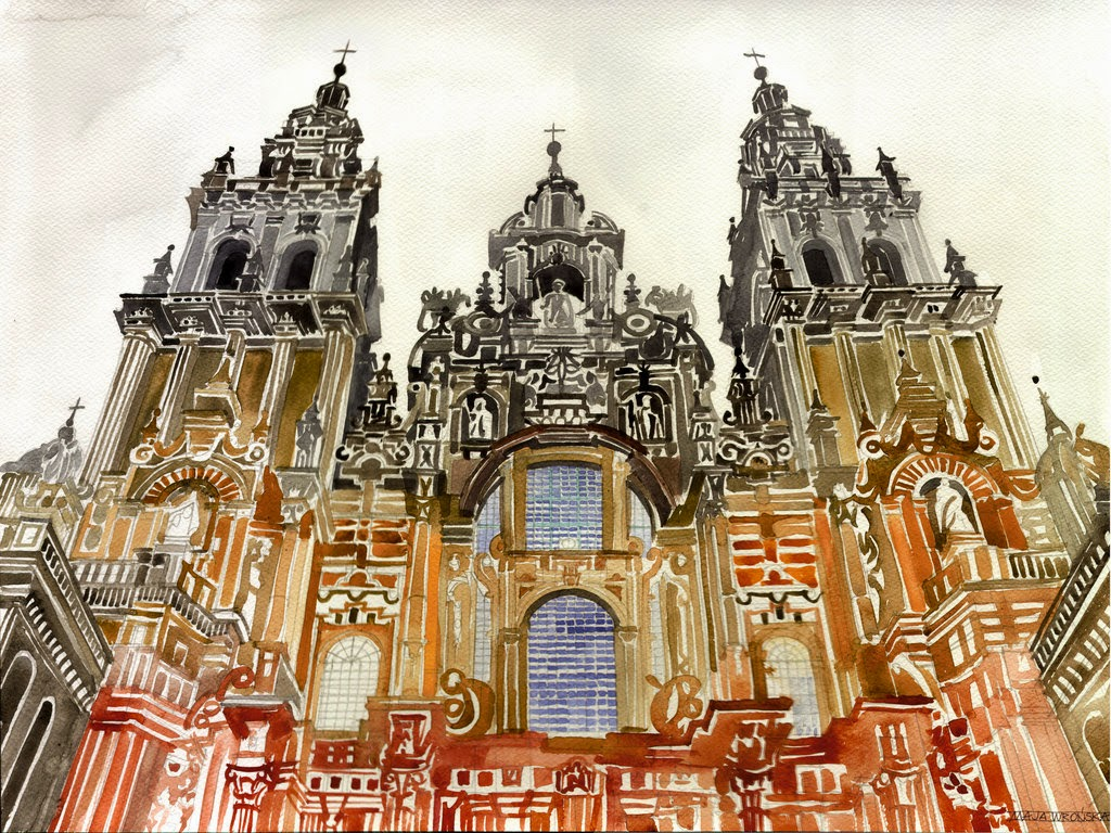 23-Santiago-de-Compostela-Maja-Wronska-Travels-Architecture-Paintings-www-designstack-co
