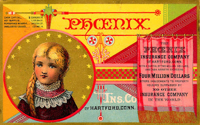 Girl with braided blond hair with hight pink & white lace collar under Phoenix logo to left, curtain with advertising copy on right