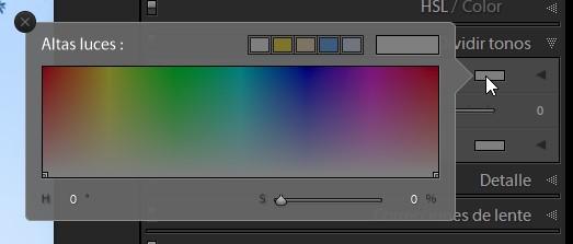 ventana emergente con todos los colores y niveles de saturación