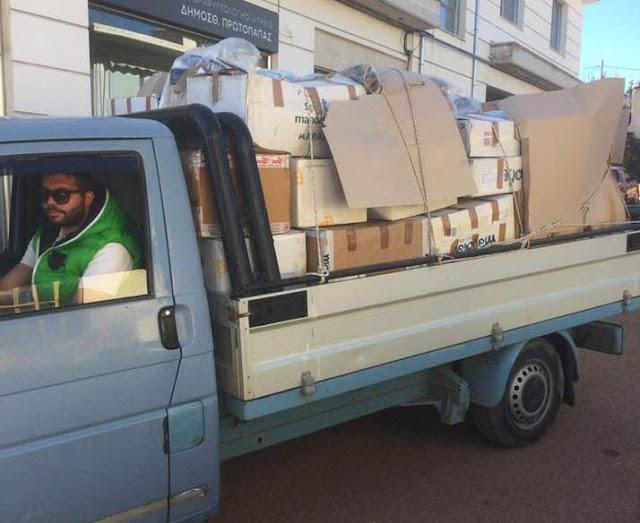 Είδη πρώτης ανάγκης από την ομάδα αλληλεγγύης του Δήμου Ερμιονίδας στους κατοίκους της Μάνδρας
