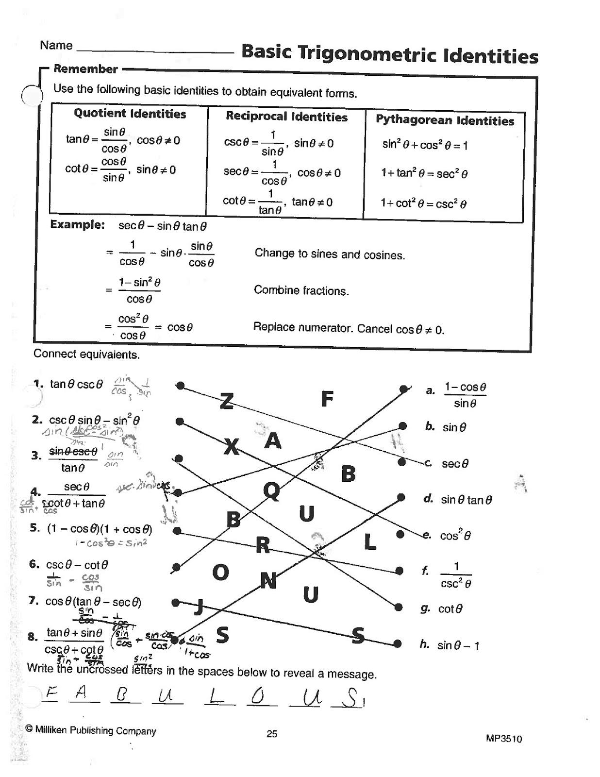 Math Classes Spring 2012 Trig Worksheets Answer Keys