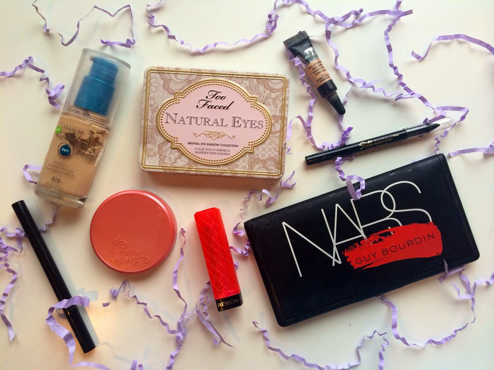 2014 favorite beauty products: Nars blush palette, tarte blush, revlon lip butters, stila liquid eyeliner
