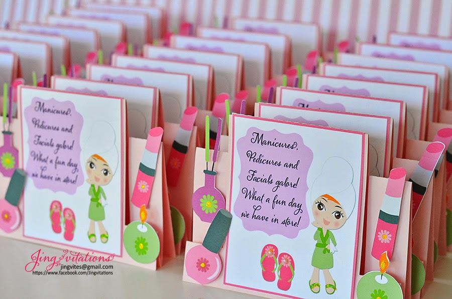 jingvitations spa party invitations and gift bag tags