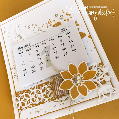 Stampin' Up! Flourishing Phrases, Gorgeous Grunge, Mini Desk Calendar, Christmas Gift created by Kathryn Mangelsdorf