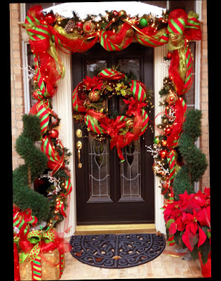 Fantastic Picture for Red Color Christmas Front Door Decorations Outdoor With Beautiful Ball