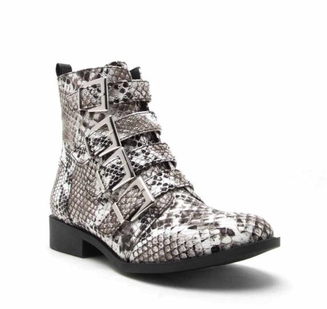 Qupid belted flat snake print ankle boots