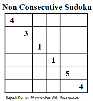 Non Consecutive Sudoku (Mini Sudoku Series #20)
