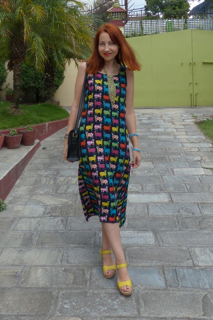 Rainbow cows print summer dress