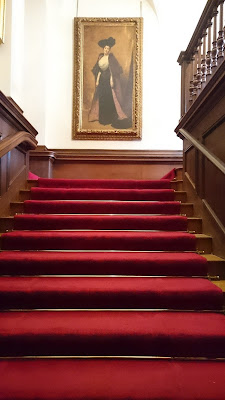 Red carpet on the stairs  at Polesden Lacey (2017)