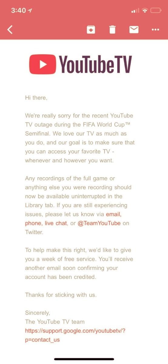 e9598542d72 YouTube TV offers a free week of service for almost ruining your ...