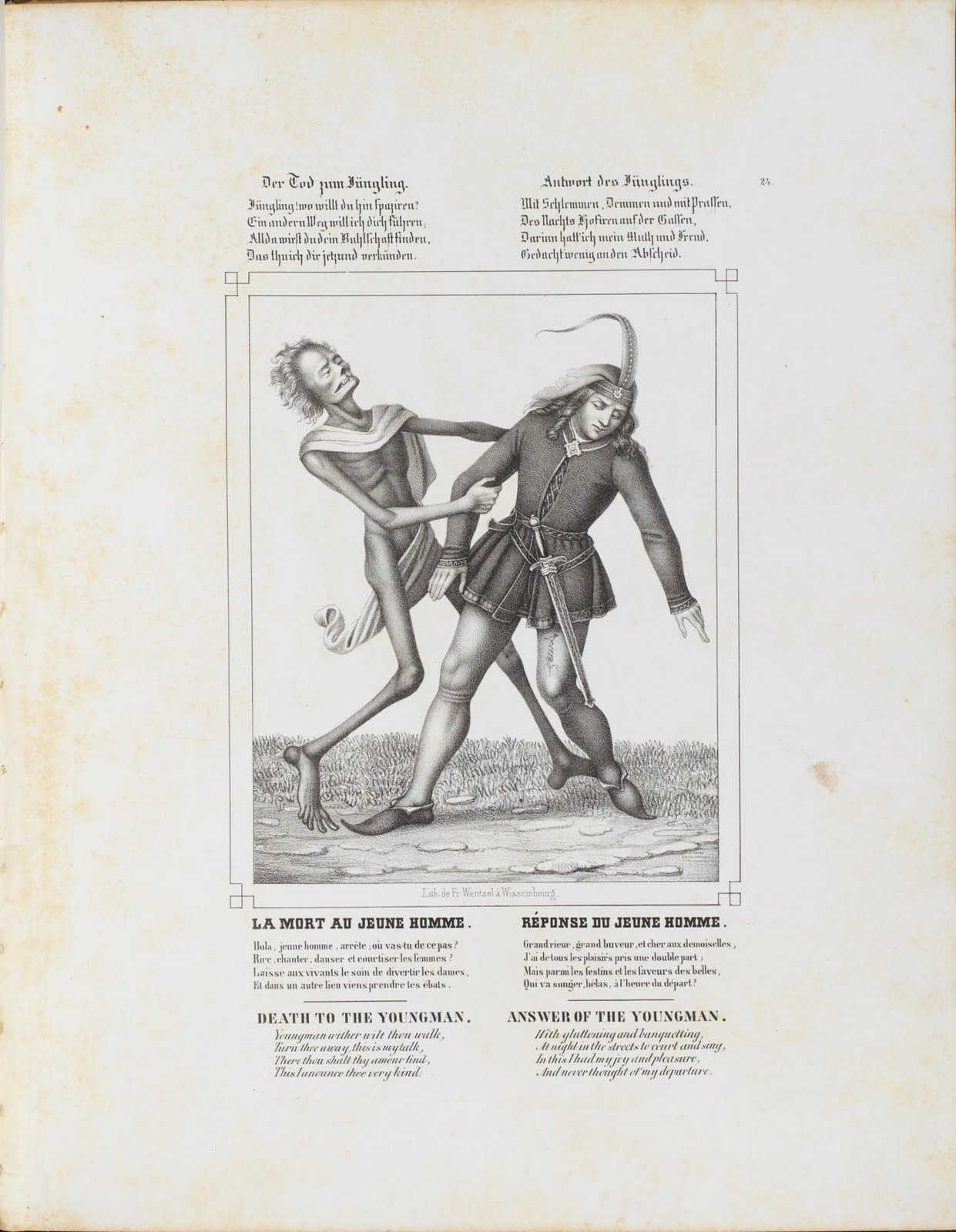 lithograph of danse macabre figure taking young man to death