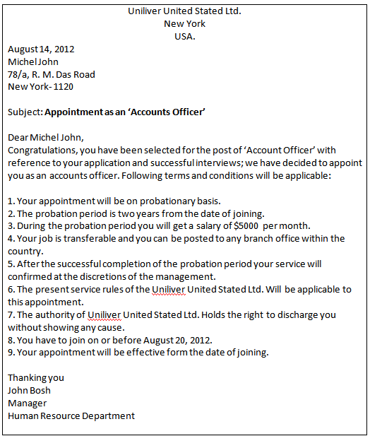 Business communication Write an appointment letter to a
