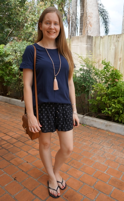 navy tee and black printed shorts summer style Jeanswest with tan camera bag | away from blue