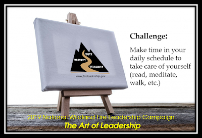 Easel with WFLDP logo. 2019 Wildland Fire Leadership Campaign - The Art of Leadership, Challenge #10