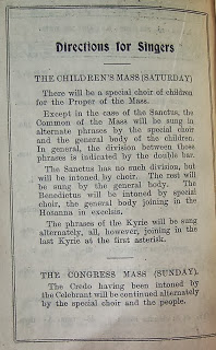 Directions for Singers - at the 1932 Eucharistic Congress Children' Saturday mass, and the Congress Mass on Sunday