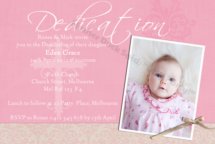 Fresh Baby Dedication Invitations Free