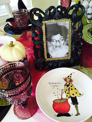Pioneer Woman goblets, witch tablescape, Witchy tablescape, Halloween decorations, The Style Sisters