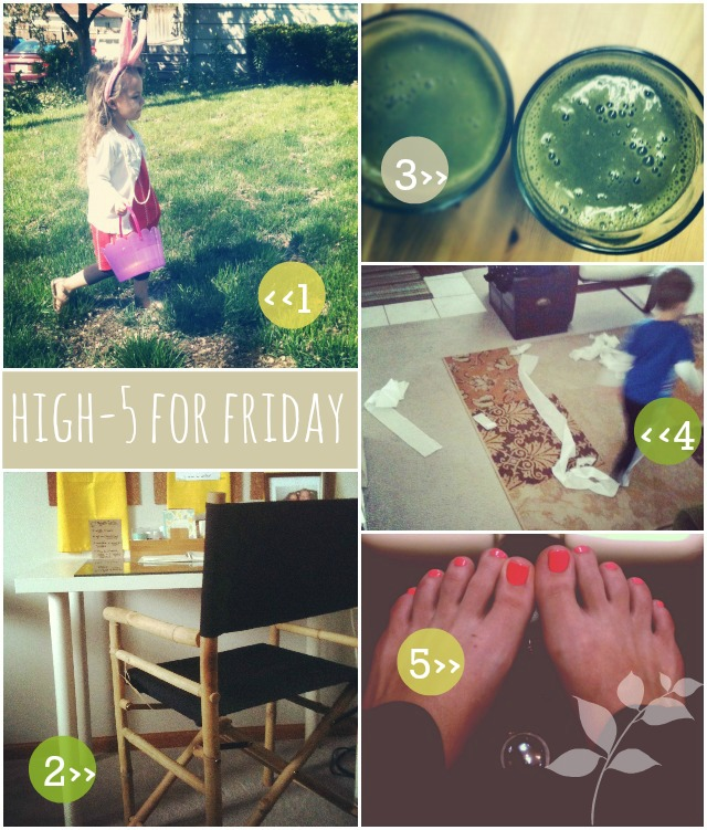 Easter, Earth Day, Green Smoothies, High Five Friday, TGIF, blogging nook, spring toes