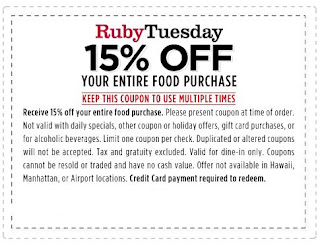 photograph about Ruby Tuesdays Coupons Printable named Ruby tuesday lower price code - Oct 2018 Retail outlet Discounts