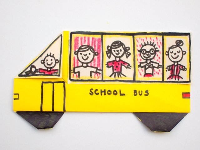 How to Fold an Origami School Bus with kids