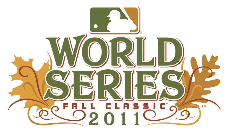 World Series Fall Classic 2011 logo with leaves, ornate yet tasteful design, and subdued forest colors of gold, brown, and green