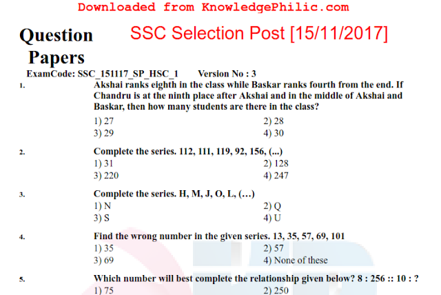 SSC Selection Post Question Paper (HSC Level held on 15.11.2017)