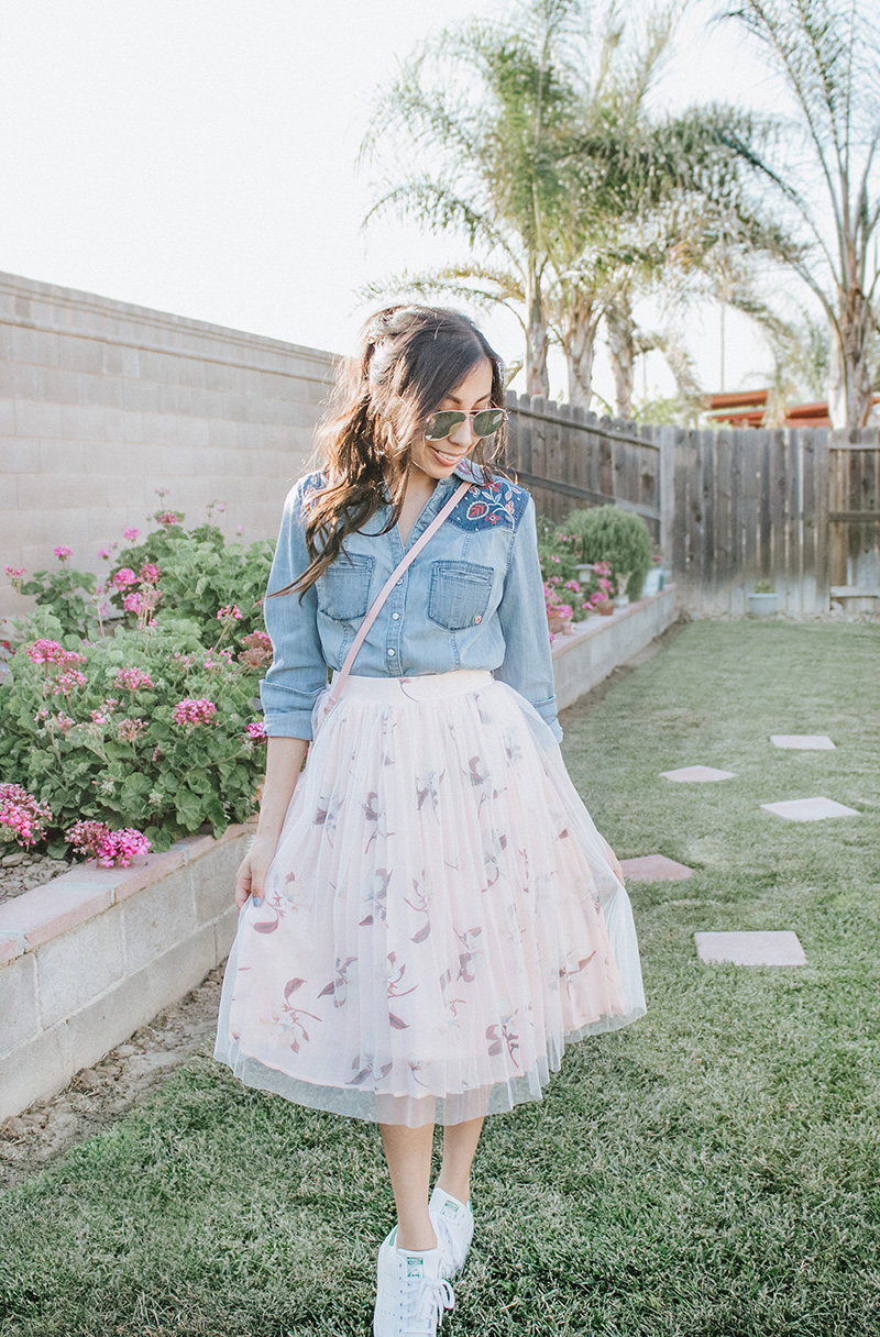 chambray shirt with tulle skirt modest feminine outfit