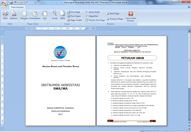 Instrumen dan Perangkat Akreditasi SMA-MA 2017 Format Microsoft Word
