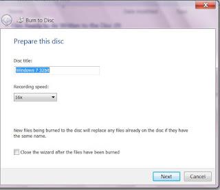 Kecepatan Pembakaran di Windows 7