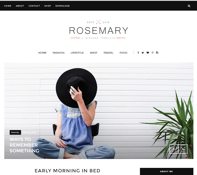 Rosemary Responsive Photography Blogger Template