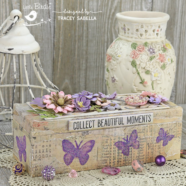"""Collect Beautiful Moments"" Decoupage Mixed Media Box by Tracey Sabella for Little Birdie Crafts: #traceysabella #littlebirdiecrafts #littlebirdieonline #littlebirdieflowers #timholtz #rangerink #sizzix #distressink # #decoupage #decoupagebox #alteredbox #woodbox #woodenbox #chipboard #butterfly #butterflies #glitter #mixedmedia #diybox #diycrafts #diycraft #stencil #stencils #shabbychic #textureart"