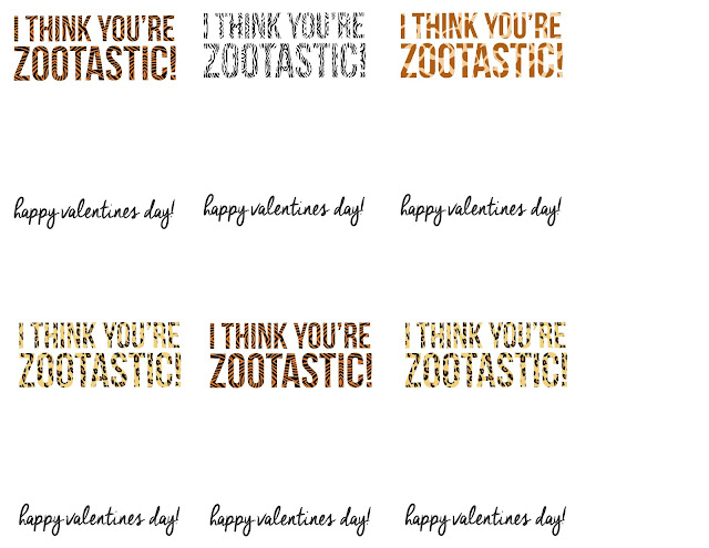 I Think You're Zootastic Valentine Free Printable