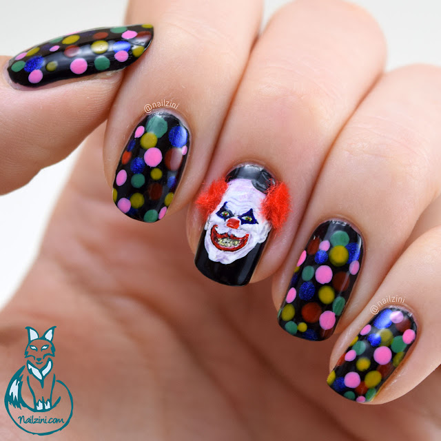 Creepy Clown Nail Art Nailzini