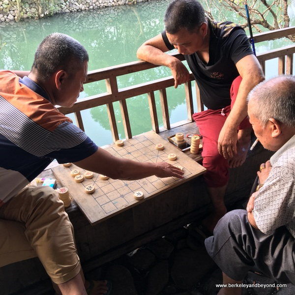 game players at Lishui Ancient Street in Zhejiang Province, Wenzhou, China
