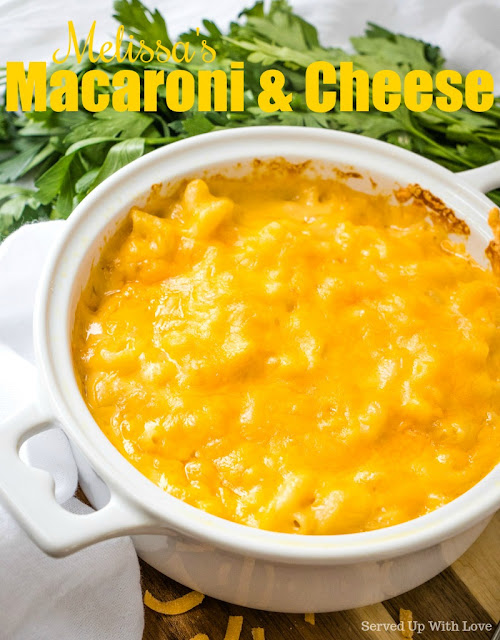 Macaroni and Cheese recipe from Served Up With Love. This is THE recipe that my family simply will not let me show up without it in tow.