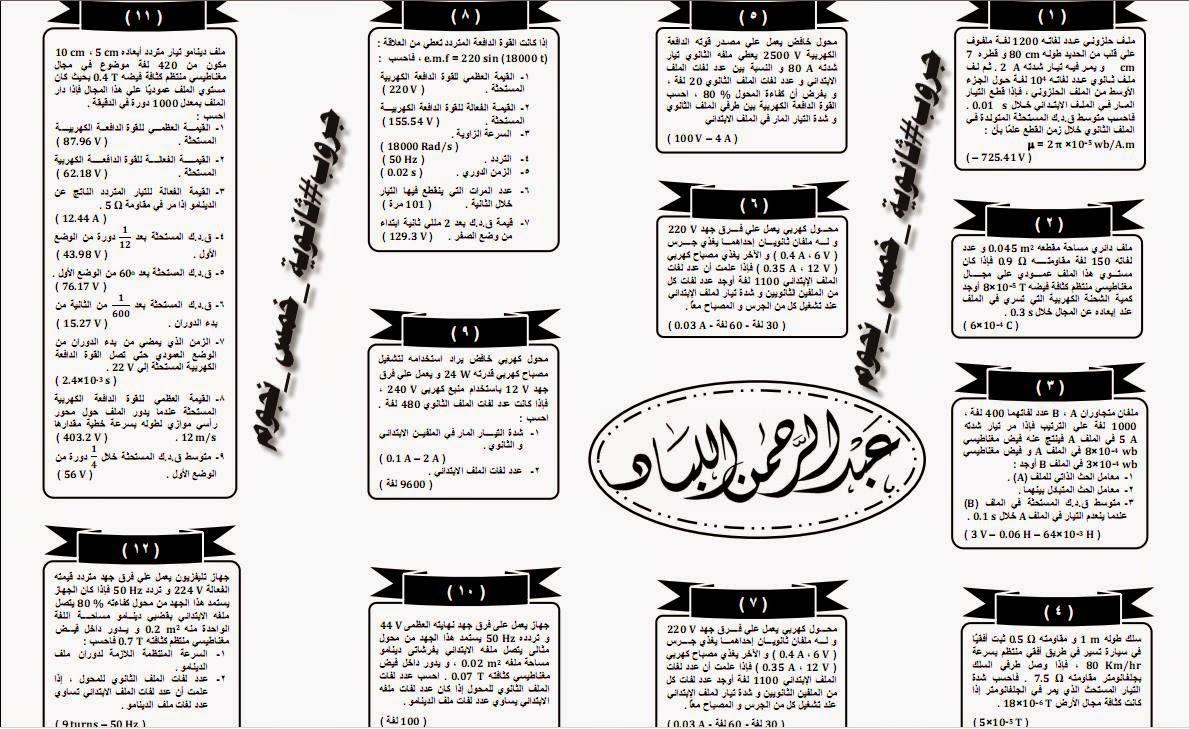 ملخص الفيزياء عبد الرحمن اللباد