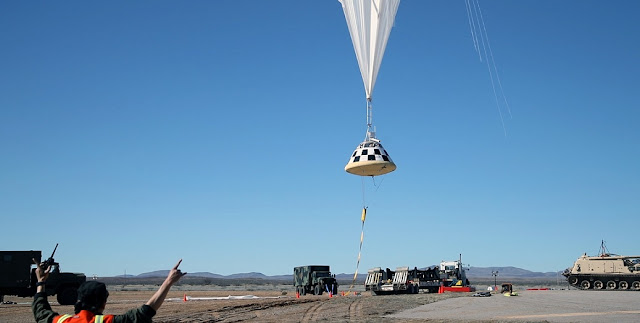 A high-altitude balloon lifts off in White Sands, New Mexico, carrying a boilerplate of Boeing's CST-100 Starliner to perform a drop test of the spacecraft's parachute system. Photo Credit: Boeing